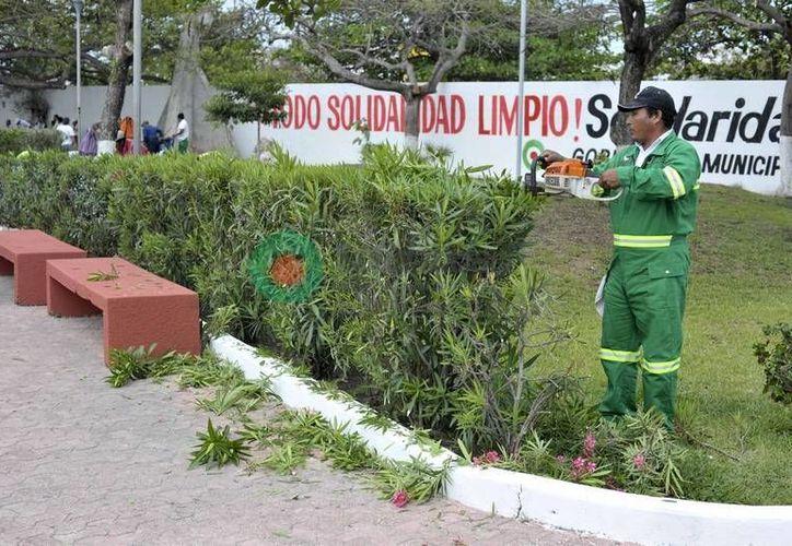 Personal del Ayuntamiento durante la jornada de limpieza. (Cortesía/SIPSE)