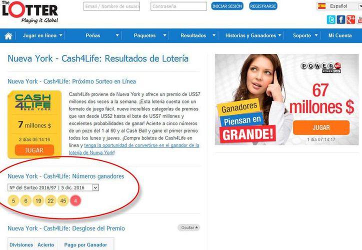 Página web de Cash4Life, donde publican los números afortunado e incluso historias de los ganadores.