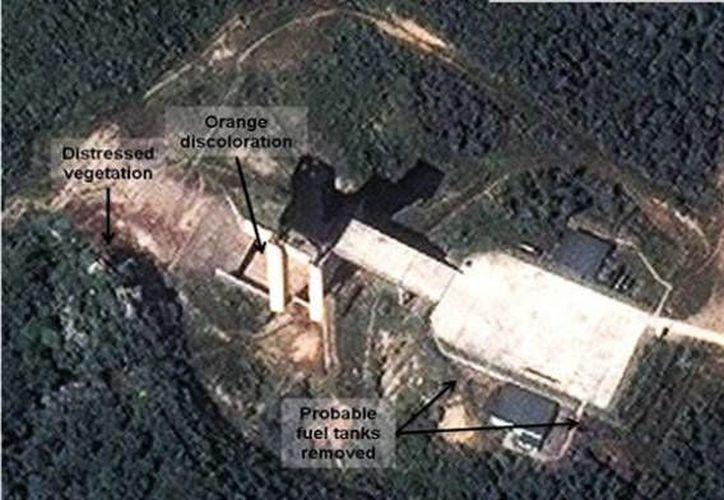 Imagen de satélite de la plataforma de lanzamiento de Pyongyang. De acuerdo con Estados Unidos, el lanzamiento del proyectil tendría como motivo del 70 aniversario del Partido de los Trabajadores de Corea, el próximo 10 de octubre. (AP)