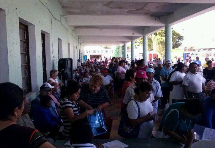 Adultos mayores reciben pensiones en Progreso. (Manuel Pool/SIPSE)