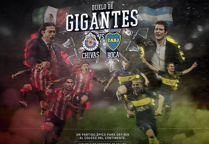 Chivas y Boca Juniors hicieron oficial el duelo amistoso que sostendrán el próximo 2 de febrero, como parte de la pretemporada del club argentino.(Foto tomada de Facebook/Chivas)