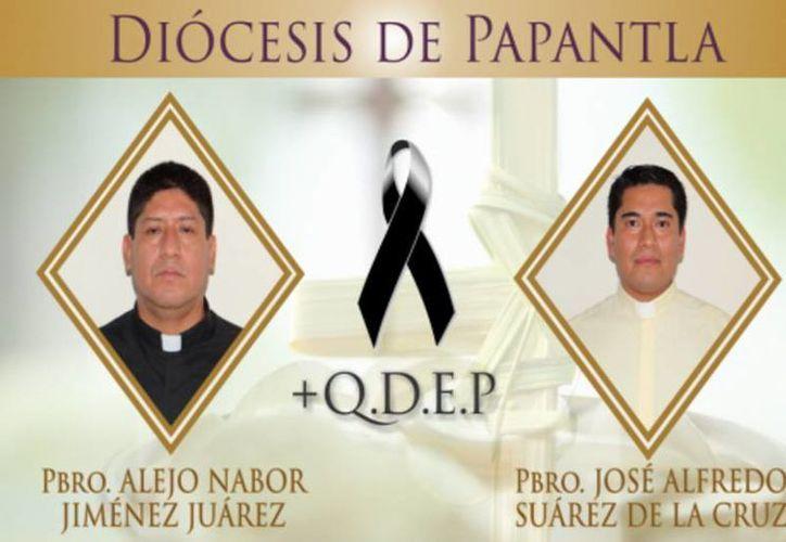 Alejo Nabor Jiménez Juárez y José Alfredo Juárez de la Cruz fueron encontrados muertos este lunes. (Diócesis de Papantla)
