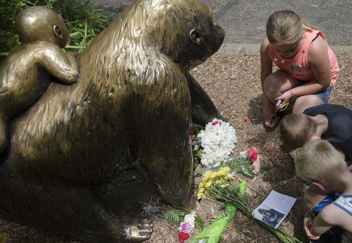 Niños colocan flores junto a la estatua de un gorila en el Zoológico y Jardín Botánico Cincinnati, Ohio, el domingo 29 de mayo de 2016. (Foto: AP/John Minchillo)