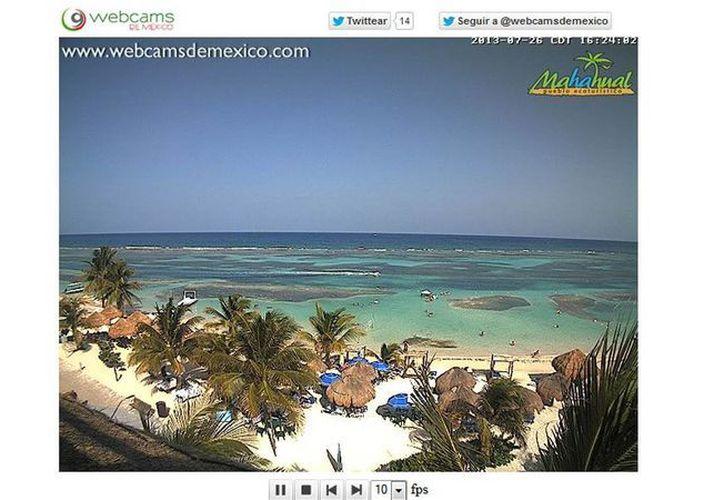La webcam que promociona a Majahual captura imágenes en tiempo real. (Webcams de México)