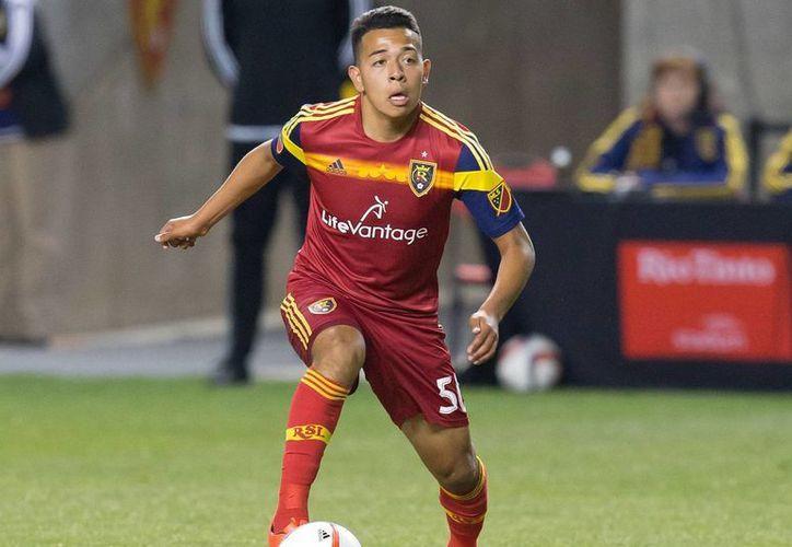 El estadounidense Sebastián Saucedo, quien militara en el Real Salt Lake de la MLS, es desde ahora nuevo jugador de los Tiburones Rojos del Veracruz.(Imagen de USA TODAY sports)