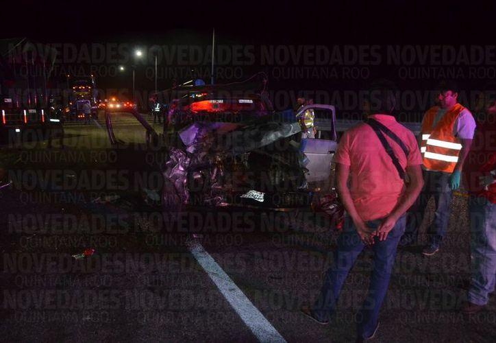 El percance se registró en el tramo carretero Tulum-Felipe Carrillo Puerto. (Foto: Eddy Bonilla/SIPSE).
