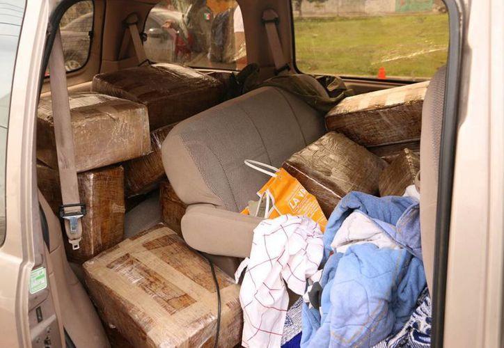 Dentro de la camioneta Windstar se encontraban los paquetes que contenían yerba con las características de la marihuana. (César González/SIPSE)