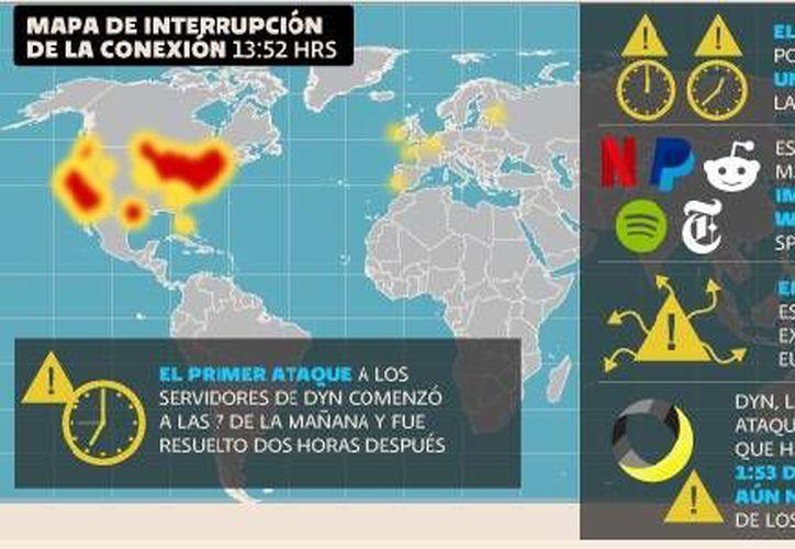 El ataque de los piratas informáticos 'Nuevo Mundo' afectó Estados Unidos y algunas partes de Europa. (Gráfica tomada de eleconomista.com.mx)