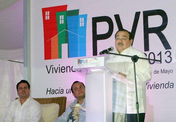 Jorge Carlos Ramírez Marín en un evento con la Canadevi, en Puerto Vallarta, Jalisco, el pasado mes de mayo. (Archivo/Notimex)