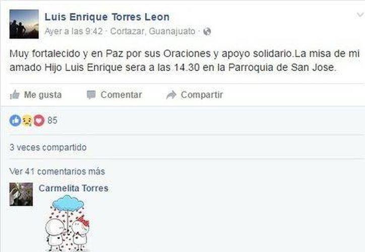 El ex alcalde de Cortázar, Luis Enrique Torres de León, agradeció el apoyo por la muerte de su hijo a través de las redes sociales. (Milenio)