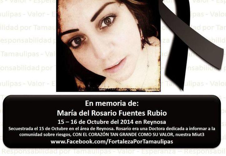 Imagen de la doctora María del Rosario Fuentes Rubio con un mensaje post-mortem, en la página de Facebook de Fortaleza por Tamaulipas.