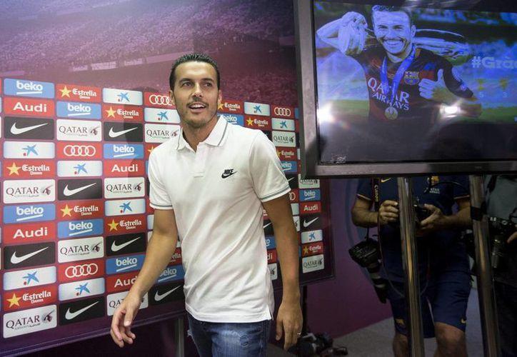 Pedro Rodríguez, nuevo atacante del Chelsea, ofreció una conferencia de prensa para despedirse del club Barcelona y agradeció el apoyo de sus compañeros y la directiva para efectuar su traspaso a la Liga Premier. (Notimex)