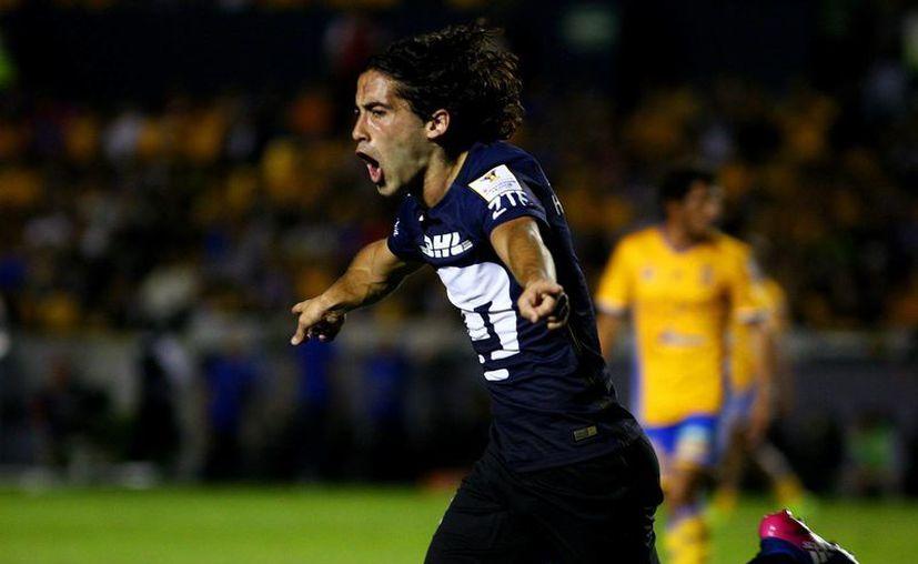 Con gol de Matías Britos, Pumas rescató un valioso empate ante Tigres, en el juego de ida de los Cuartos de Final de la Concachampions.(Jam media)