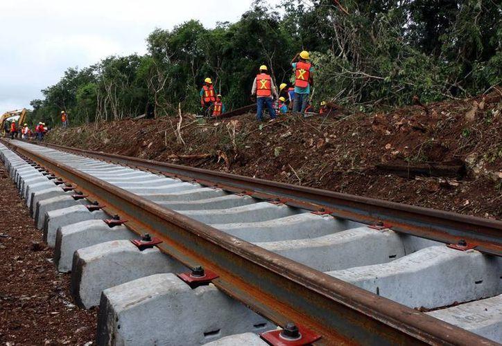 Empresarios de Yucatán piden a la SCT que considere que el ferrocarril llegue hasta el puerto de Progreso. Imagen de la construcción de las vías de tren en el Estado. (Milenio Novedades)
