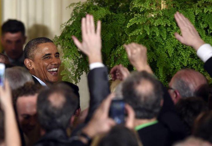 Obama encabezó este martes las celebraciones del día de San Patricio en la Casa Blanca. (AP)
