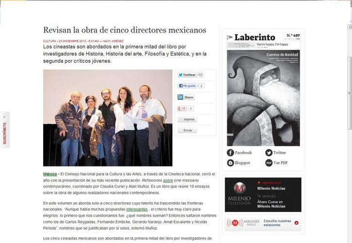 Los cineastas Carlos Reygadas, Fernando Eimbcke, Gerardo Naranjo, Amat Escalante y Nicolás Pereda. (Captura de pantalla de Milenio)