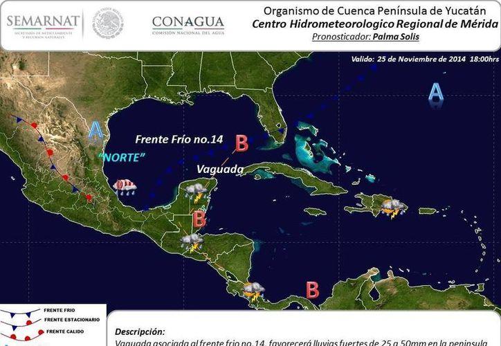 Las condiciones del tiempo que se esperan este martes en la Península de Yucatán. (SIPSE)