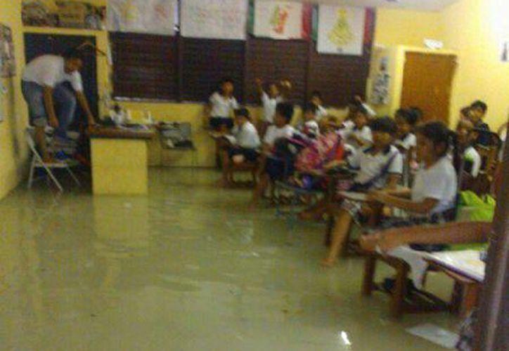 La decisión se tomó luego de que apesar de las inundaciones, algunas escuelas de Benito Juárez tuvieron actividades. (@noticun/Twitter)