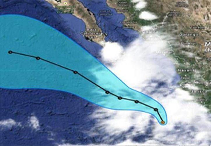 La Conagua publicó en su sitio web la imagen de la posible trayectoria de Norbert en el Océano Pacífico. (conagua.gob.mx)