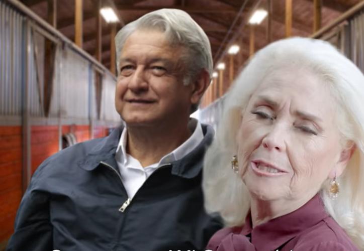 Lety Garza llama a dejar de tomar la 'pastilla de la felicidad', y votar por López Obrador. (Foto: Captura)