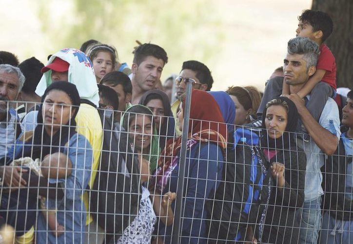 Inmigrantes esperan en el paso fronterizo de Macedonia y Grecia cerca de Gevgelija. (EFE)