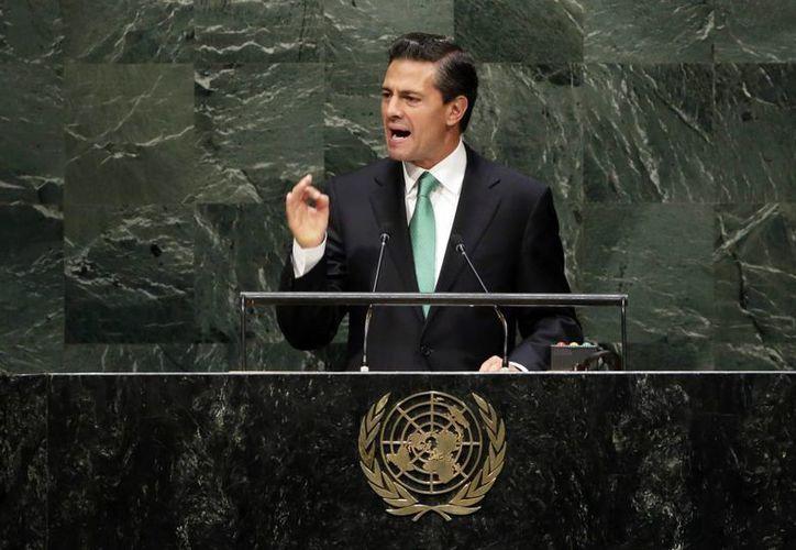 El presidente de México Enrique Peña Nieto en su primera aparición ante una Asamblea General de la ONU este miércoles. (Agencias)
