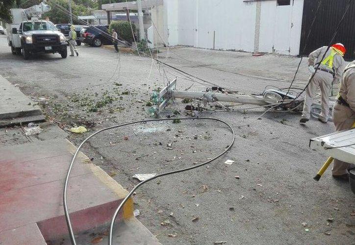 Los postes de concreto quedaron tendidos en el pavimento, luego de ser derribados por los cables que se atoraron don el vagón de un ferrocarril. (SIPSE)