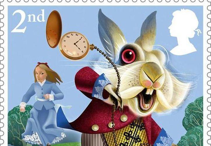 Este es uno de los sellos postales con los que en Inglaterra se conmemoran los 150 años de 'Alicia en el país de las maravillas'. (dailymail.co.uk)