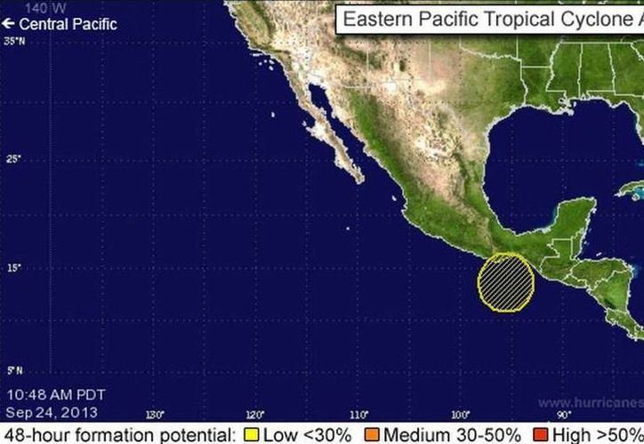 El sistema se localiza a unos 130 km de Salina Cruz, Oaxaca. (nhc.noaa.gov)