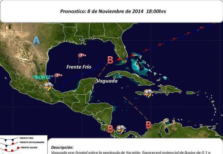 Carta pronóstico de las condiciones del clima para la Península de Yucatán este sábado. (Conagua)
