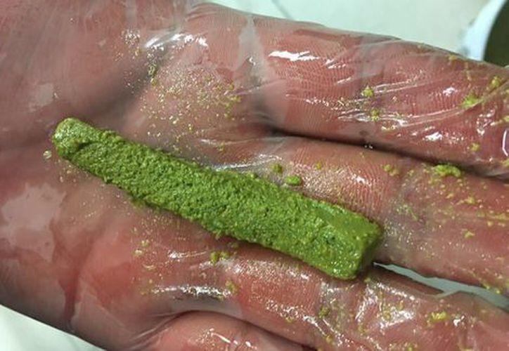 El material tenía el color y la forma de nopales en tiras, pero en realidad era droga. (Milenio.com)