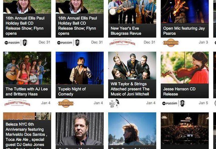 Página de inicio de la aplicación Concert Window. (blog.irocke.com)