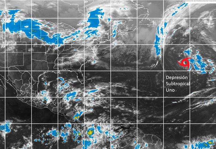 Una zona de baja presión se convirtió en depresión tropical, se ubica a miles de kilómetros de Q. Roo.  (Conagua)