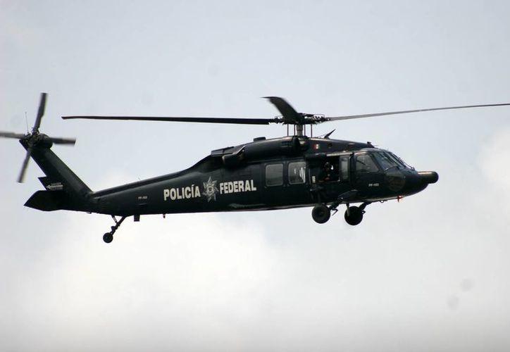 Dos helicópteros de la Policía Federal participaron en el dispositivo. (Harold Alcocer/SIPSE)