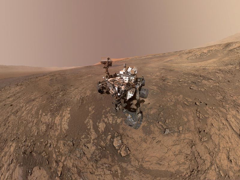 This composite image made from a series photos shows a self-portrait of NASA's Curiosity Mars rover on Vera Rubin Ridge.