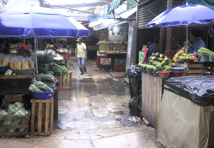 La lluvia provoca que se sientan olores fétidos en los mercados de Mérida. (Milenio Novedades)