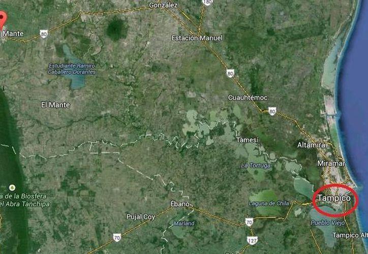 El enfrentamiento mortal se produjo en la carretera que va de El Mante (arriba a la izquierda) a Tampico (abajo a la derecha). (Google Maps)