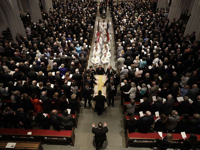 Pallbearers carry the casket of former first lady Barbara Bush after a funeral service for former first lady Barbara Bush at St. Martin's Episcopal Church.