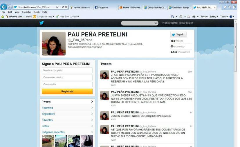 La cuenta @_Pau_95Pena asegura también que es manejada por Paulina Peña. (Agencia Reforma)