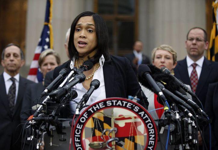 Marilyn J. Mosby, fiscal de Maryland, durante la rueda de prensa que ofreció este viernes en Baltimore, en torno a la muerte de Freddie Gray. (Foto: AP)