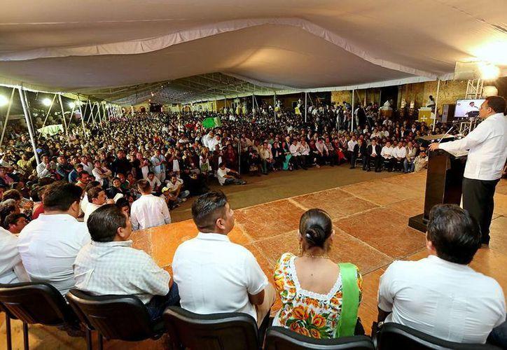 Marco del Informe de la Región VI del Coespy, que encabezó anoche el gobernador Rolando Zapata en Valladolid. (Milenio Novedades)