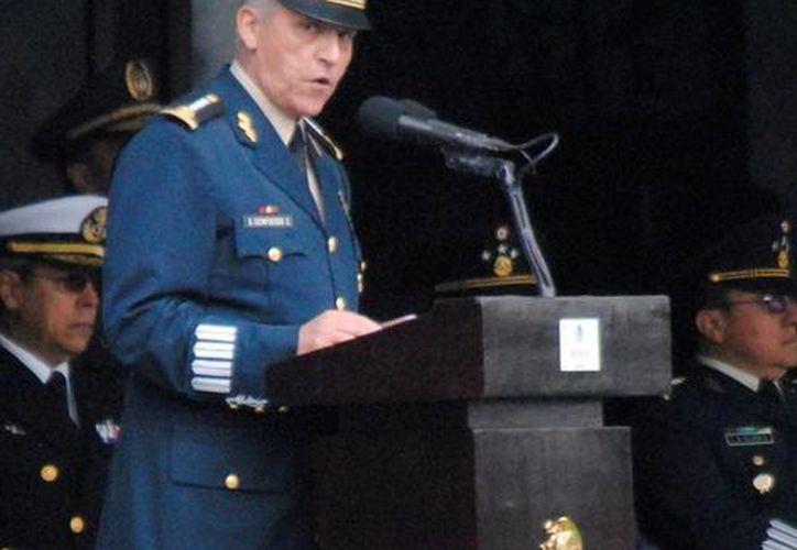 Salvador Cienfuegos en su discurso en el marco del día del Ejército. (Agencias)