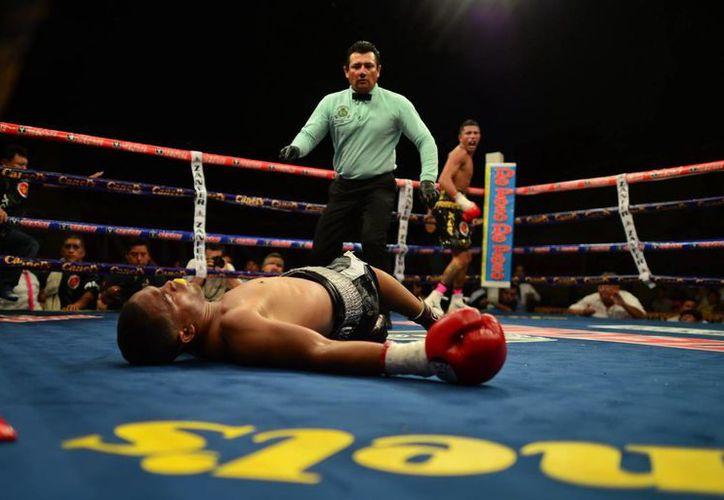 Fulminante golpe en el cuarto asalto recibió Carlos Manuel Reyes. (Luis Pérez/SIPSE)