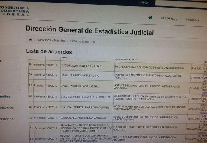En la lista aparecen los nombres de Hugo Flavio Bonilla Iglesias y Carlos Alejandro Lima Carvajal. (Mauricio Conde/SIPSE)