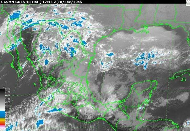 Imagen de satélite de la Conagua, que muestra la interacción de los fenómenos climáticos que afectan al territorio mexicano. (www.conagua.gob.mx)