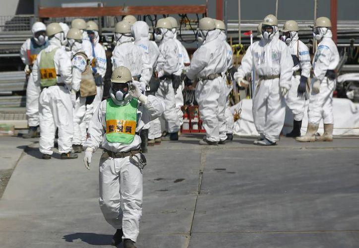 Un grupo de trabajadores de la operadora Tokyo Electric Power (TEPCO) en la planta nuclear de Fukushima, Japón. (Archivo/EFE)