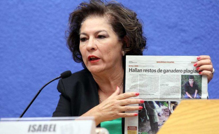 Isabel Miranda de Wallace se mostró visiblemente molesta por los datos oficiales. (Notimex)
