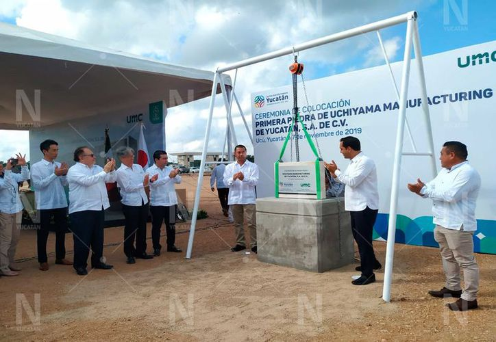 Primera piedra de la empresa japones en Yucatán.(Novedades Yucatán)