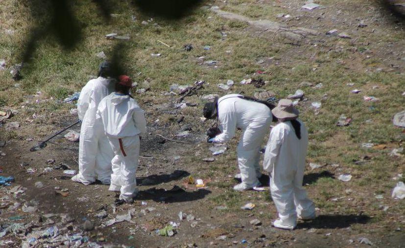 Expertos forenses recaban información en el sitio localizado en el municipio de Cocula, Guerrero, y que presuntamente se trata de una fosa clandestina. (Archivo/EFE)