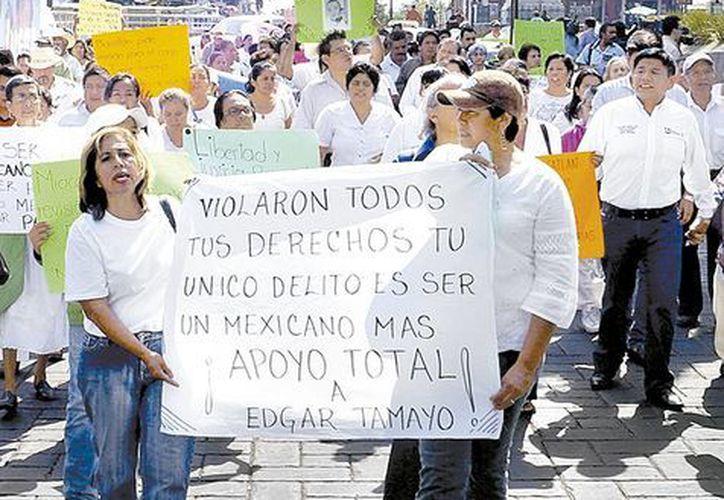 En Morelos también hubo marcha de protesta en contra de la pena de muerte a Édgar Tamayo. (Milenio)